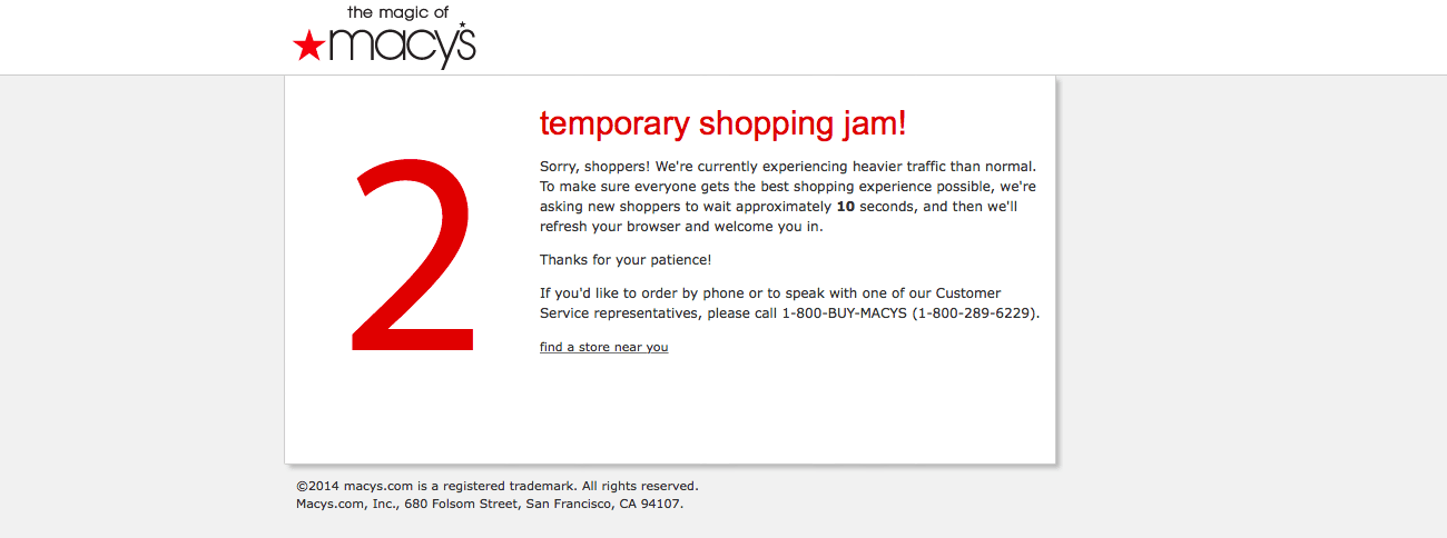 macys black friday website outtage